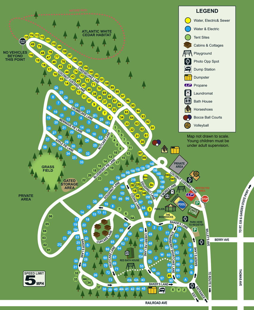 Baker's Acres Campground Site Map