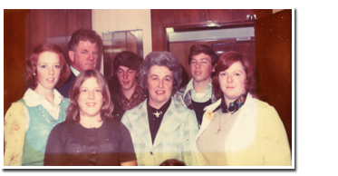 The Baker Family, from left to right, back to front: Gail, Reds, Jack, Debbie, Anne, Carol