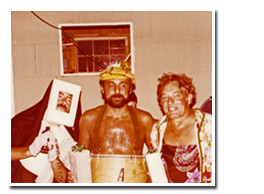 Three seasonal campers at costume party, circa 1970s